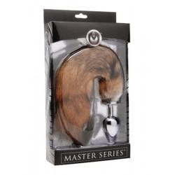 Master Series Fox XL - fém anál dildó rókafarokkal (ezüst-vörös)