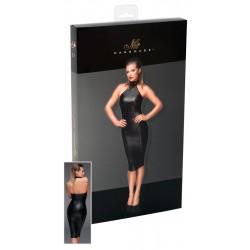 Noir - Fényes, fém gyűrűs nyakpántos ruha (fekete)