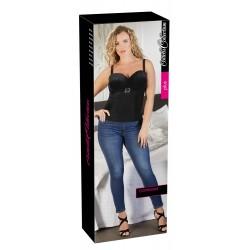 Cottelli Plus Size - női bársony felső strasszos övvel (fekete)