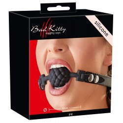 Bad Kitty - gömbös szilikon szájpecek (fekete)