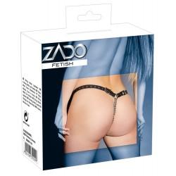 ZADO - láncos, nyitott, valódi bőr tanga (fekete)