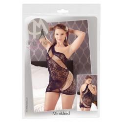 Mandy Mystery - virágos-hálós aszimmetrikus csipke ruha (fekete)
