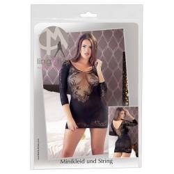 Mandy Mystery - 3/4-es ujjú, neccbetétes ruha tangával (fekete)