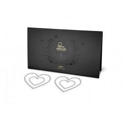 Bijoux Indiscrets Mimi - csillogó szívek mellbimbómatrica (fehér)