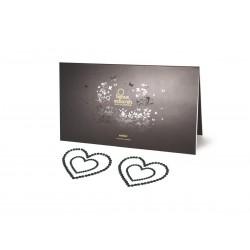 Bijoux Indiscrets Mimi - csillogó szívek mellbimbómatrica (fekete)
