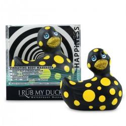My Duckie Happiness 2.0 - pöttyös kacsa vízálló csiklóvibrátor (fekete-sárga)
