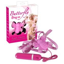 Felcsatolható pillangó - csikló vibrátor (pink)