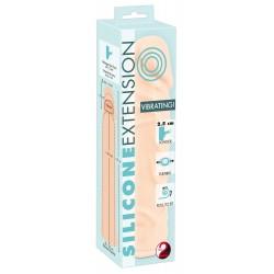 Silicone - vibráló hosszabbító péniszköpeny (natúr) - 19cm
