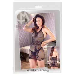 Mandy Mystery - pillangós, nyakpántos necc ruha tangával (fekete)