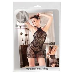 Mandy Mystery - absztrakt mintás, ujjatlan necc ruha tangával (fekete)