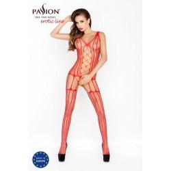 Passion BS013 - csíkos, hálós necc szett (piros) - S-L